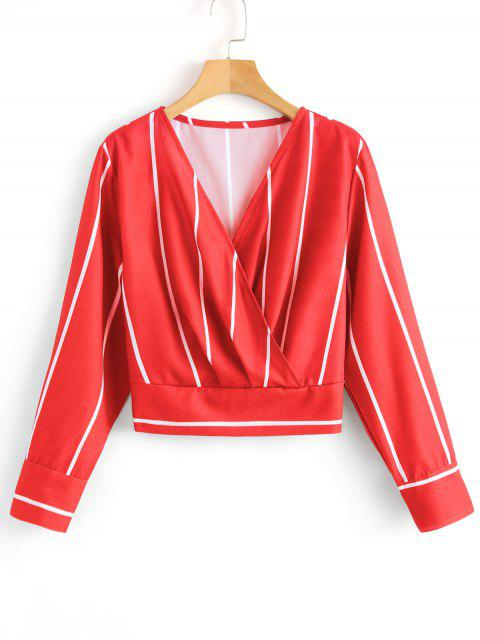 shop Crossed Front Stripes Blouse - RED M Mobile