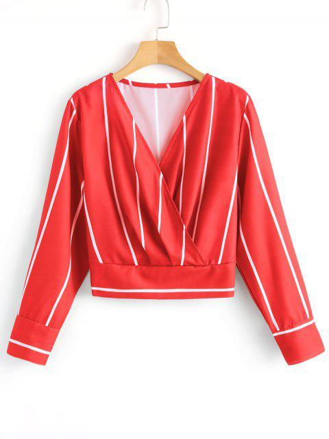 Blusa cruzada de rayas delanteras - Rojo S Mobile