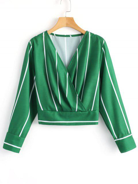 sale Crossed Front Stripes Blouse - GREEN L Mobile