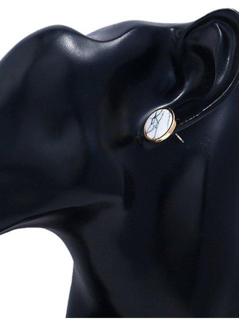 Faux Stone Round Metal Stud Earrings - Blanco  Mobile