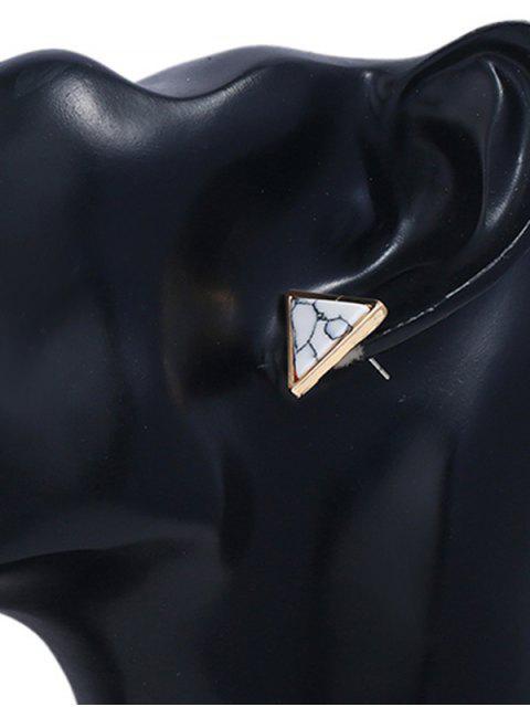 Pendientes de aleación de triángulo de mármol - Blanco  Mobile