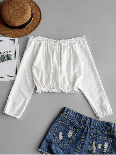 online Ruffles Off Shoulder Cropped Blouse - WHITE ONE SIZE Mobile