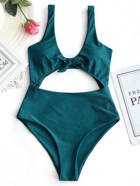 women Bow Front Cut Out One Piece Swimsuit - MALACHITE GREEN L Mobile