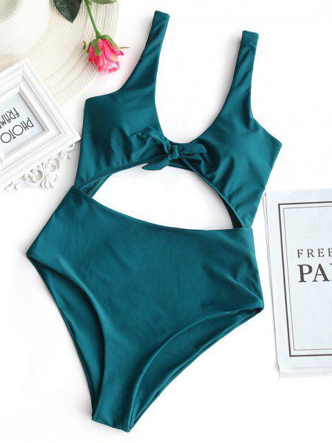 ladies Bow Front Cut Out One Piece Swimsuit - MALACHITE GREEN S Mobile