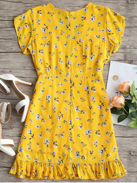 فستان الكشكش مزين بأزهار - الأصفر S Mobile