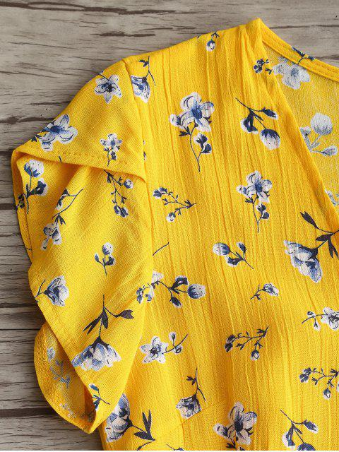 affordable Plunging Neck Floral Ruffles Dress - YELLOW S Mobile