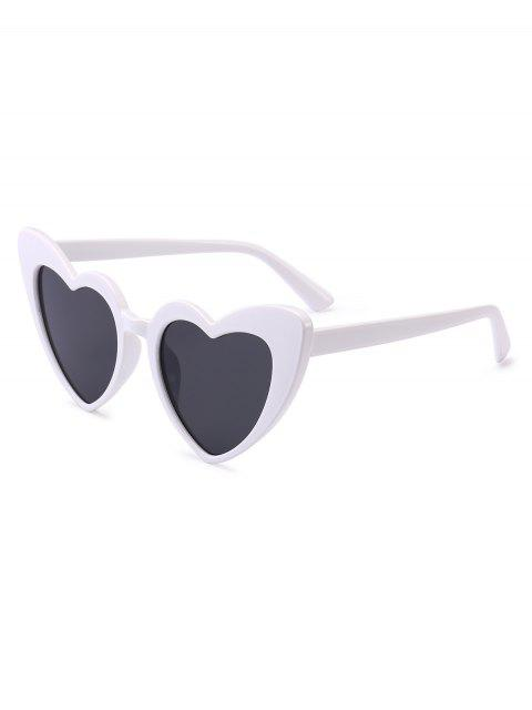 sale Heart Shape Sunglasses - WHITE FRAME+GREY LENS  Mobile