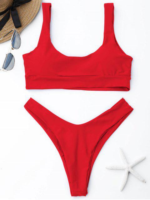 Bikini de Corte Alto con Escote Redondo ZAFUL - rojo Brillante S Mobile