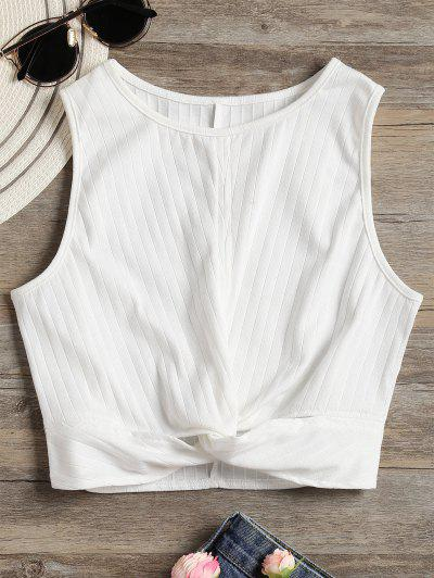 Twisted Crop Tank Top - White S