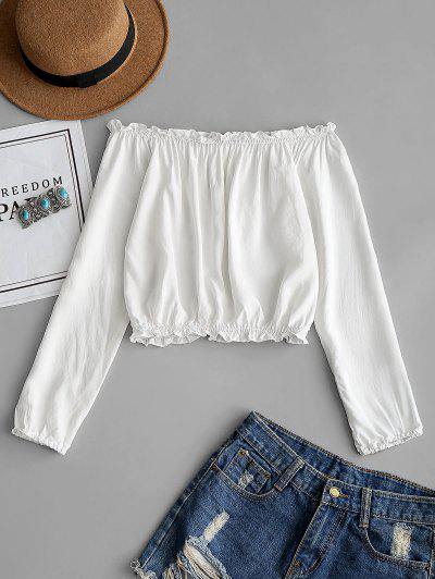 91dd70591cfc31 Ruffles Off Shoulder Cropped Blouse - White ...