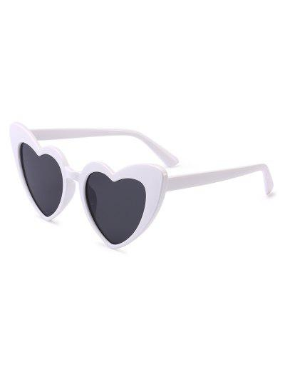 Heart Shape Sunglasses - White Frame+grey Lens