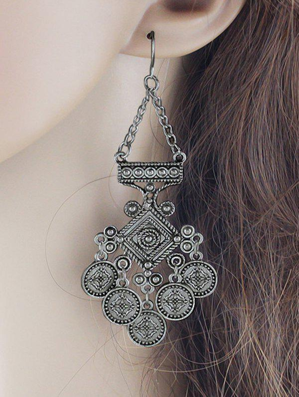 vintage geometric hollow out drop earrings
