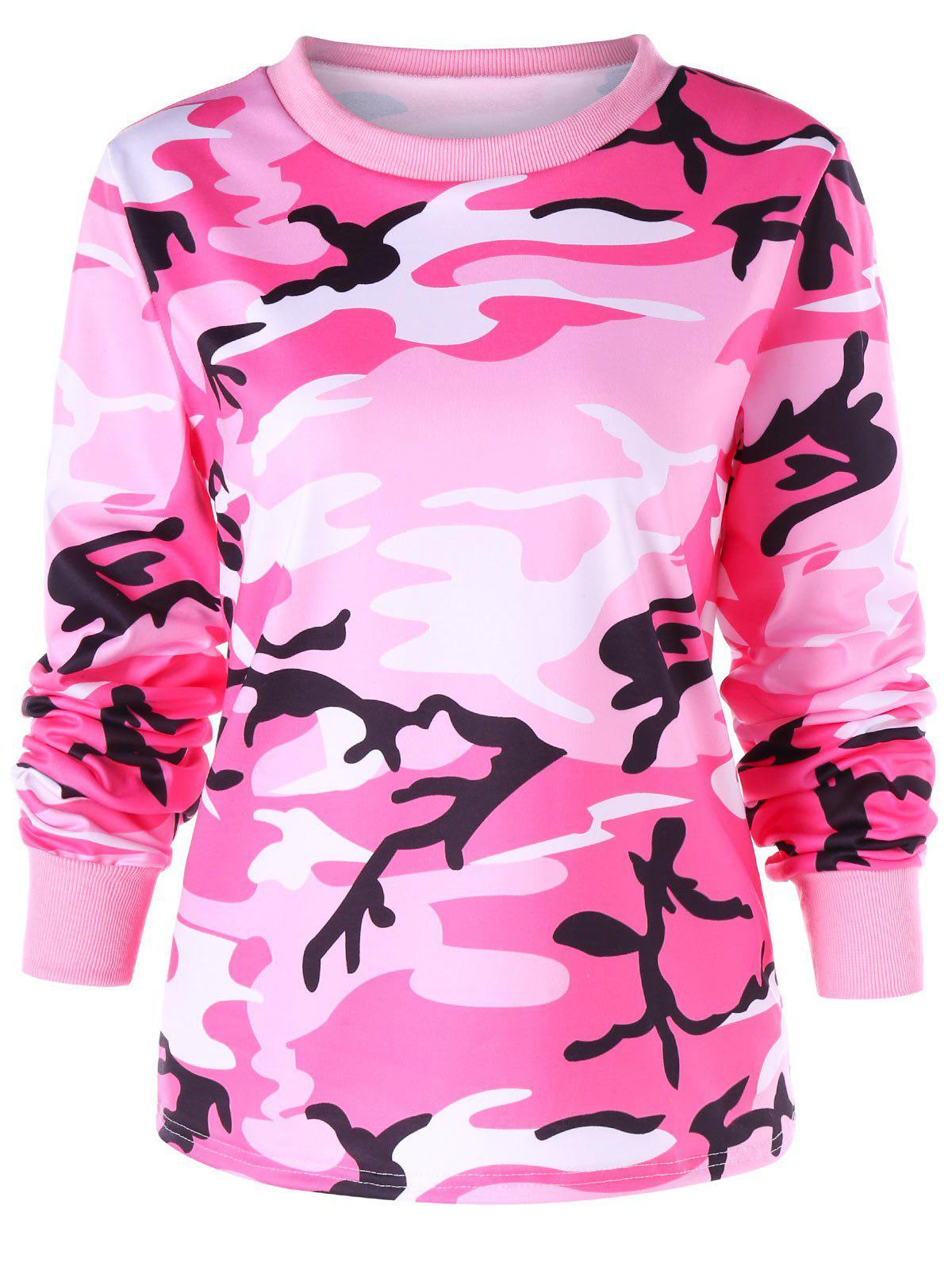 Ribbed Edge Camouflage Print Sweatshirt, Colormix