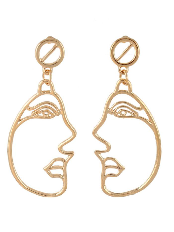 Alloy Side Face Hollow Out Dangle Earrings