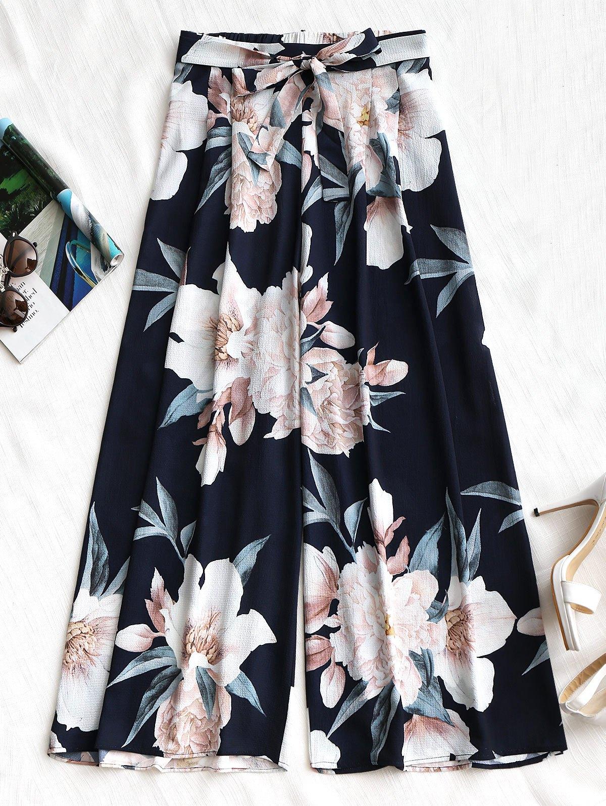 Belted Floral Wide Leg