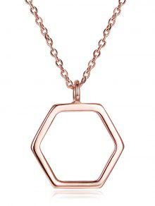 قلادة من الفضة الأسترليني سداسية الشكل - وارتفع الذهب