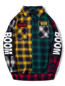 قميص من القماش مربع النقش مزين بغرافيك بألوان جامدة - مربع النقش M