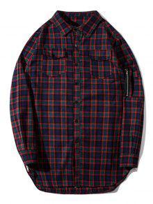 قميص من القماش مربع النقش بجيوب وسحاب جانبي - مربع النقش M