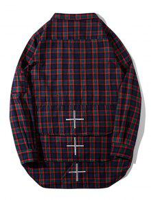Flap pockets side zipper plaid shirt plaid shirts m zaful for Travel shirts with zipper pockets