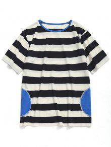 Blanco Xl Corta Camiseta Rayas A De Negro Manga Y qS8PxXHw