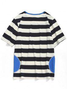 Negro Y Rayas Xl De Blanco A Manga Corta Camiseta Uaqx70n