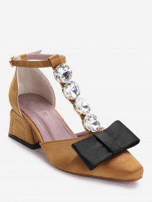 حذاء بحزام حول الكاحل مزين بفيونكة وحجر الراين - الأصفر 36