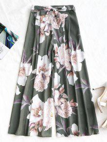 مربوط الأزهار السراويل الساق واسعة - الجيش الأخضر L