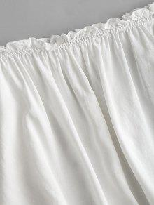 Blanco Blusa Volantes Hombros Con Sin fWwCB8