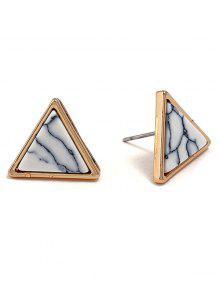 أقراط معدنية بنمط مثلث من الرخام - أبيض
