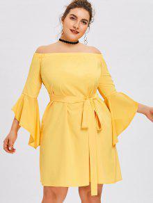 فستان توهج الأكمام بلا اكتاف - الأصفر 5xl