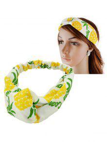 الفاكهة الأناناس طباعة مرونة الشعر الفرقة - الأصفر