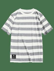 Gris Negro Con A Y Camiseta Cuello L Redondo Rayas qc6gWcPZ1w