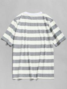 Gris Negro Con Y Redondo L Rayas Camiseta Cuello A UPwqX7