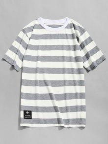 L Y Negro Camiseta Gris Rayas A Redondo Cuello Con xvnqHCZ