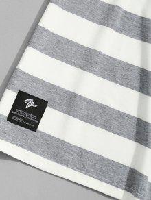 Gris Con Cuello Camiseta L Negro Rayas Y A Redondo qXCxxwWa4