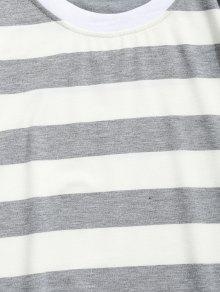 Redondo Cuello Gris Y Negro L A Rayas Con Camiseta wxqRBn
