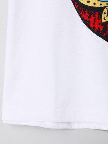 Camiseta De S Labios Estampado Corta Blanco Con rOfwqrxAnt