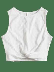 Blanco Torcido Sin L Mangas Top xC7pwTqS
