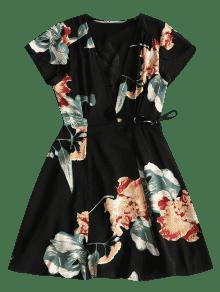 Wrap Mini M Negro Beach Floral Vestido qqrUYB