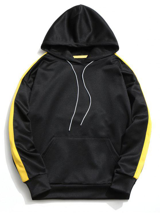 shops Kangaroo Pocket Contrast Color Hoodie Men Clothes - BLACK XL