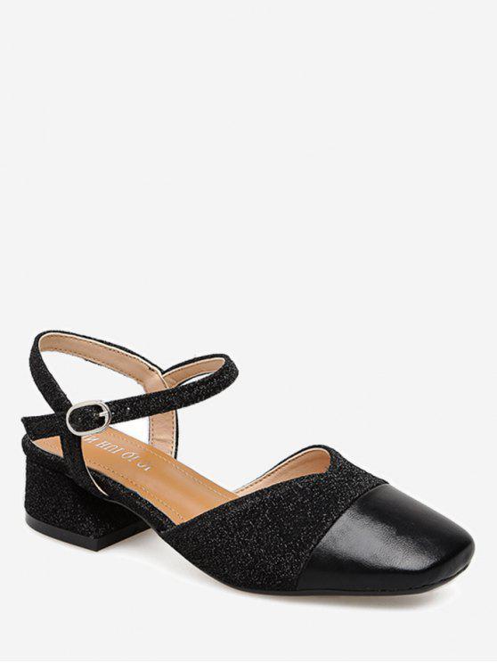 Zapatos de tacón de bloque de tela con lentejuelas - Negro 36