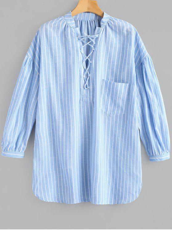 فستان بجيب مخطط رباط - الضوء الأزرق XL