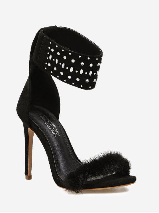 Rhinestone Faux Fur Sandals - Preto 35