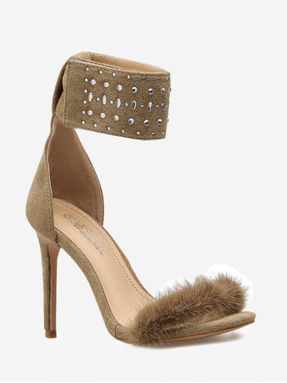 unique Rhinestone Faux Fur Sandals - APRICOT 35