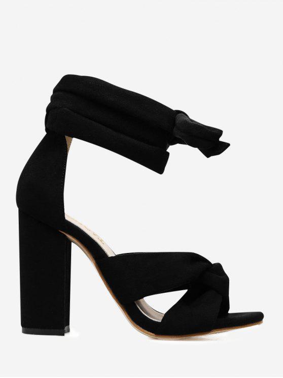 fashion Twist Front Lace Up Sandals - BLACK 37