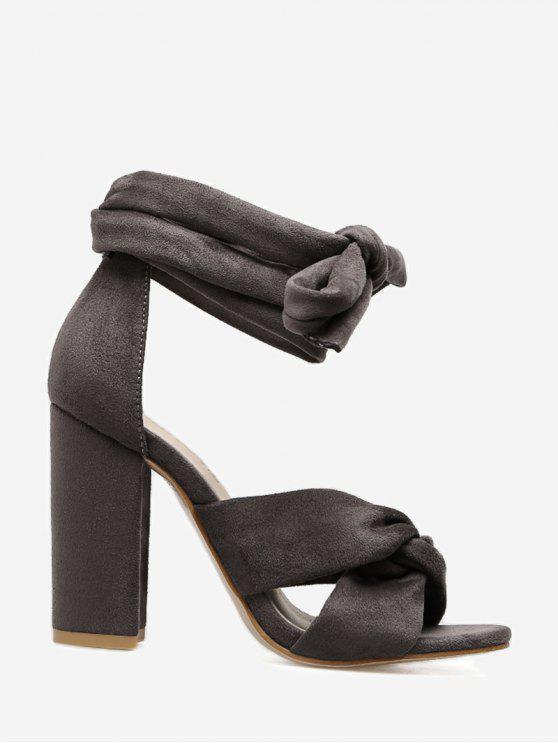 Twist Front Lace Up Sandals - Cinza 38