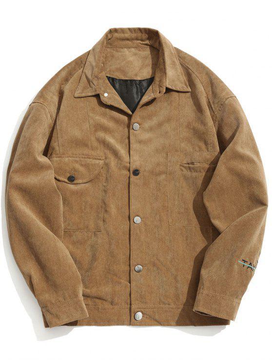 Llevar cinco chaqueta de pana gráfica - Caqui 2XL