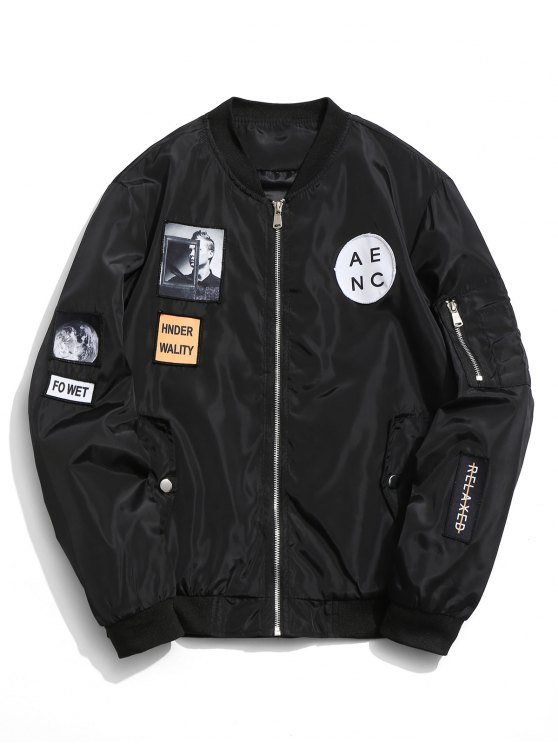 shop Patched Bomber Jacket - BLACK XL