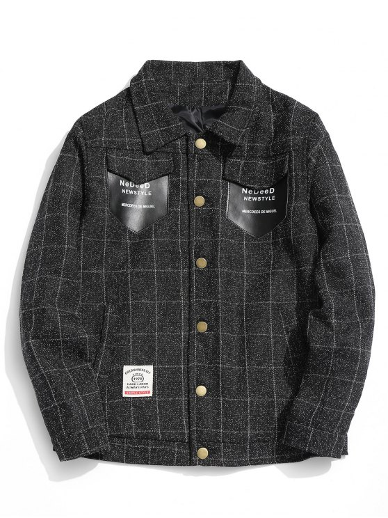 affordable Graphic Pocket Checked Jacket - BLACK XL