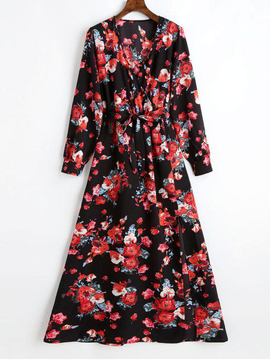 womens Plunging Neck Slit Floral Belted Maxi Dress - BLACK XL